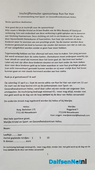 Sponsorloop voor Stichting Haarwensen - Foto: Ingezonden foto