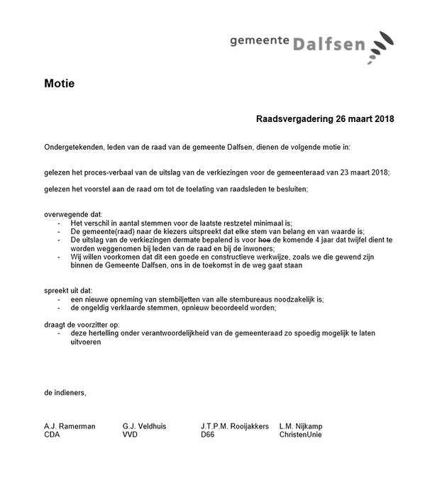Hertelling stemmen gemeenteraadsverkiezingen Dalfsen - Foto: Gemeente Dalfsen
