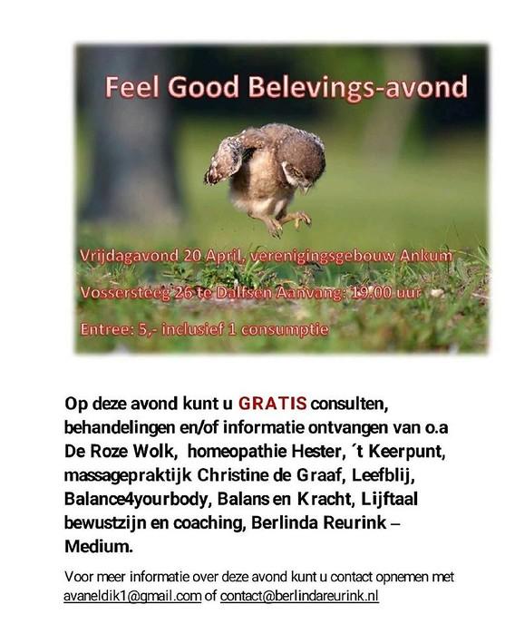 Feel Good Belevings-avond op 20 april
