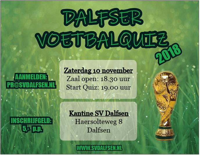 Inschrijving derde editie Dalfser VoetbalQuiz geopend