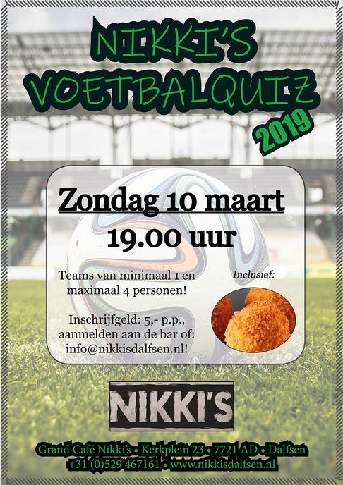 Zondag 10 maart: VoetbalQuiz bij Nikki's
