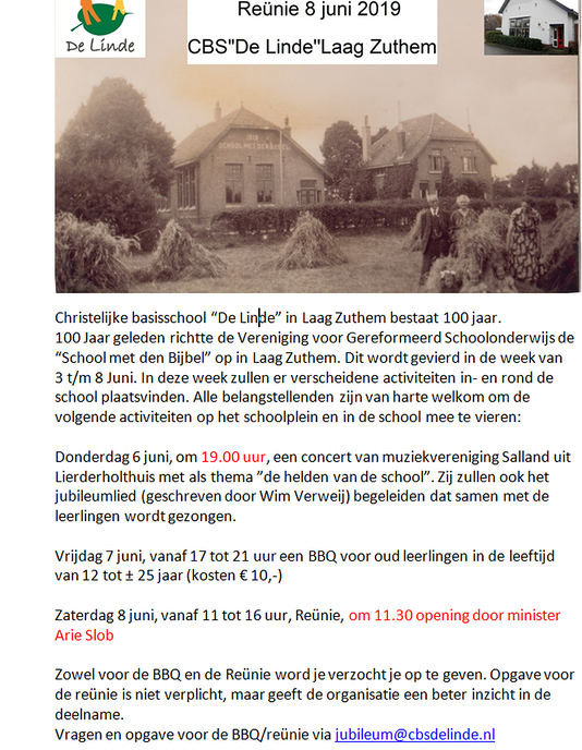 100 jaar school Laag Zuthem - Foto: eigen geleverde foto
