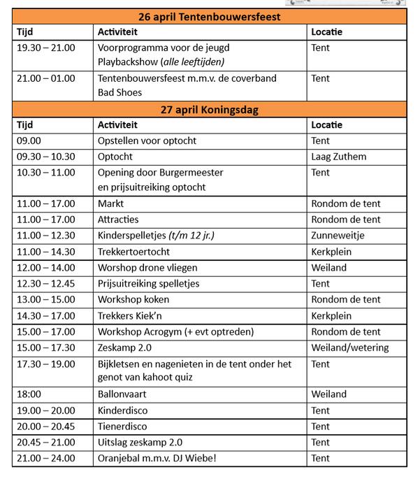 Programma van Koningsdag in Laag Zuthem - Foto: eigen geleverde foto