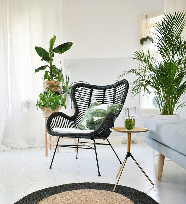 De rotan stoel is weer helemaal terug in de moderne interieurstijlen