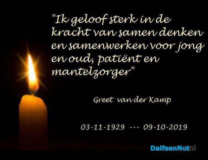 In memoriam: Greet van der Kamp - Foto: Ingezonden foto