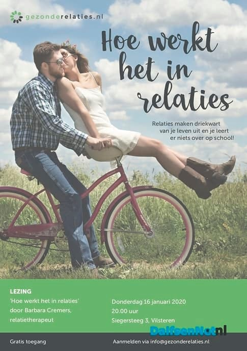 Lezing Hoe werkt het in relaties! - Foto: Ingezonden foto
