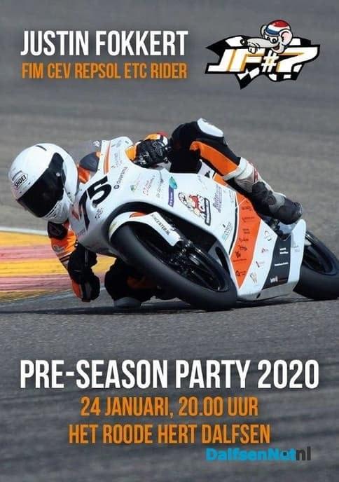 Pre-season Party motorcoureur Justin Fokkert - Foto: Ingezonden foto