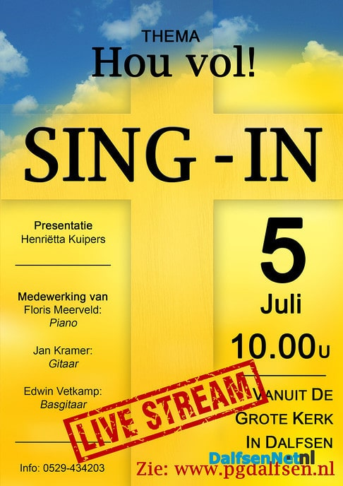 Sing-in Livestream - Foto: Ingezonden foto