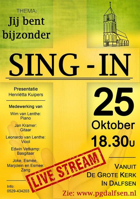 Livestream Sing-in 25 oktober - Foto: eigen geleverde foto