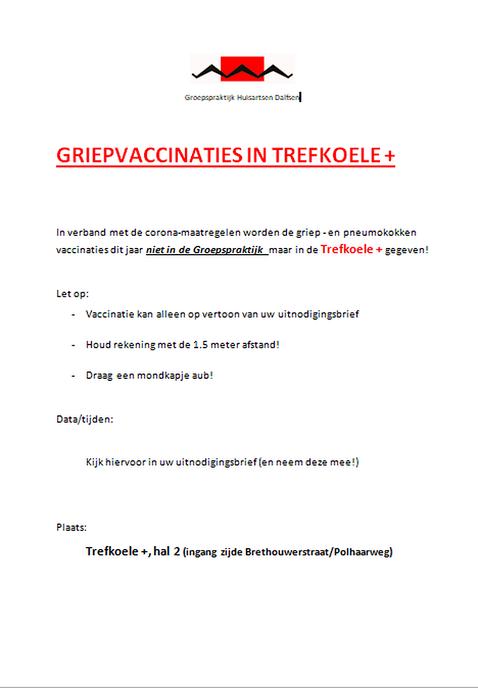 Griep- en pneumokokken vaccinaties  in de Trefkoele +