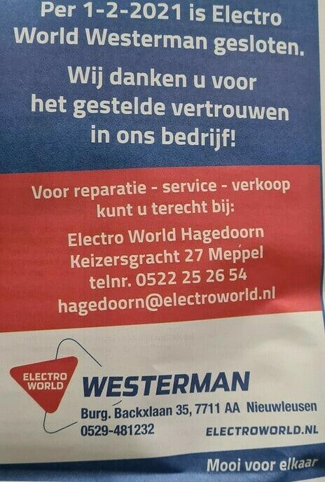 Westerman Nieuwleusen gesloten - Foto: Ingezonden foto