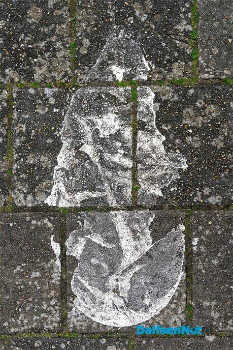 Vervuiling (van stoep of straat) of Kunst? - Foto: Paul Scholten