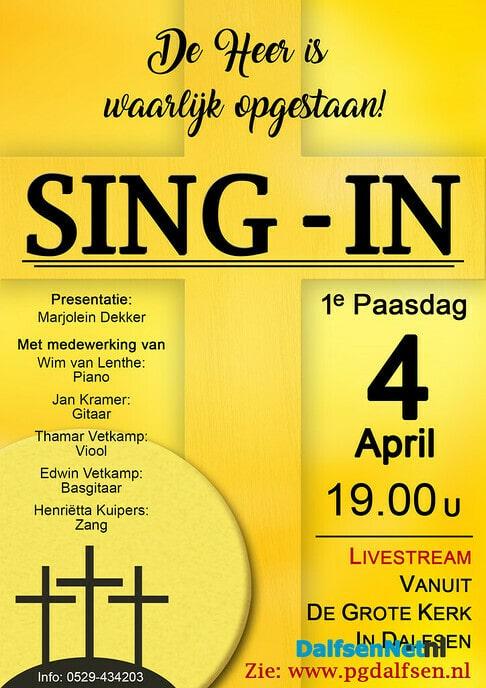 Paas Sing-in Livestream Dalfsen - Foto: Ingezonden foto