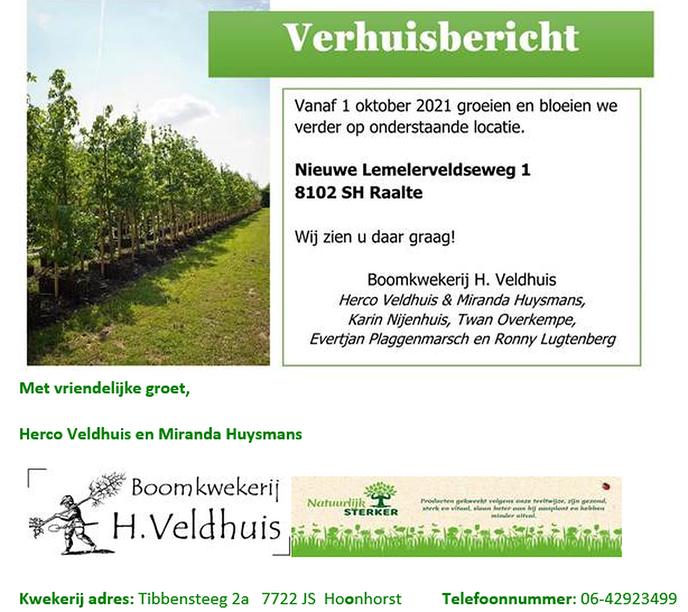 Boomkwekerij Veldhuis gaat verhuizen