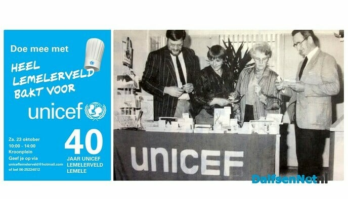 Heel Lemelerveld bakt voor Unicef - Foto: Ingezonden foto