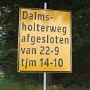 Dalmsholterweg afgesloten van 22 sept tot 14 okt.