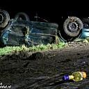 Crash N340 Dalfsen, auto op de kop in greppel