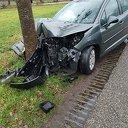 Met auto tegen boom
