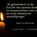 In memoriam: Greet van der Kamp